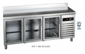 Chladící stůl GTP-7-180-30 GLASS (agregát vlevo + dřez)
